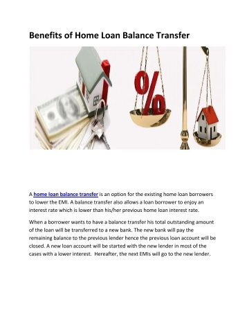 Benefits of Home loan transfer