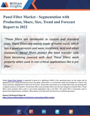 Panel Filter Market - Segmentation with Production, Share, Size, Trend and Forecast Report to 2022