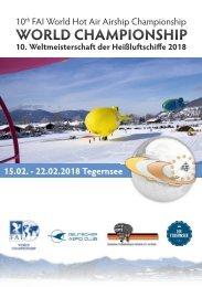 10. FAI-Weltmeisterschaft der Heißluft-Luftschiffe 2018, Tegernsee - 15.02-22.02.2018