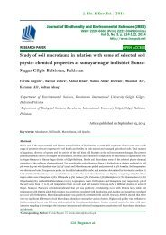 Study of soil macrofauna in relation with some of selected soil physio- chemical properties at sumayar-nagar in district Hunza-Nagar Gilgit-Baltistan, Pakistan