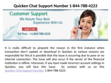 Quicken Help Desk Number  1-844-788-4223