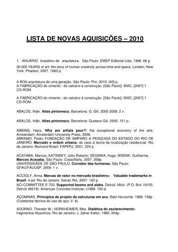 lista de novas aquisições – 2010 - Escola de Arquitetura – UFMG
