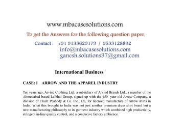 case study of arrow and the apparel industry and answer