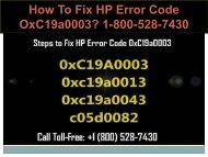 18005287430 Fix HP Error Code OxC19a0003