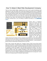 How To Select A Best Web Development Company