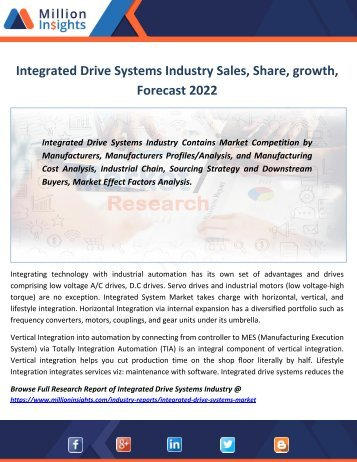 Integrated Drive Systems Industry Sales, Share, growth, Forecast 2022