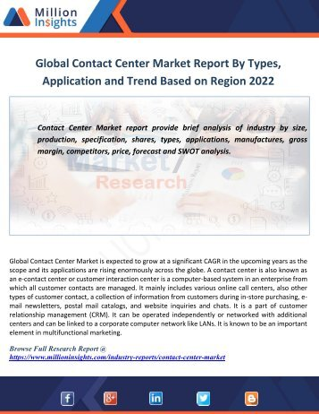 Global Contact Center Market Report By Types, Application and Trend Based on Region 2022