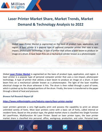 Laser Printer Market Share, Market Trends, Market Demand & Technology Analysis to 2022