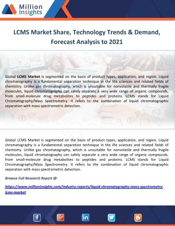 LCMS Market Share, Technology Trends & Demand, Forecast Analysis to 2021
