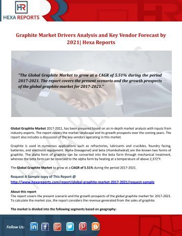 Graphite Market Drivers Analysis and Key Vendor Forecast by 2021 Hexa Reports