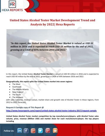United States Alcohol Tester Market Development Trend and Analysis by 2022 Hexa Reports