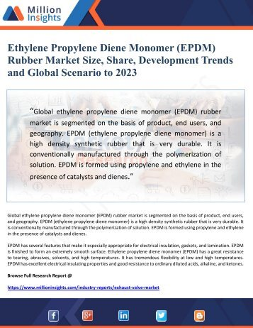 Ethylene Propylene Diene Monomer (EPDM)  Rubber Market Size, Share, Development Trends  and Global Scenario to 2023