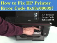 1-800-576-9647 How to Fix HP Printer Error Code 0x83c00009