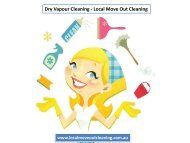 Dry Vapour Cleaning - Local Move Out Cleaning