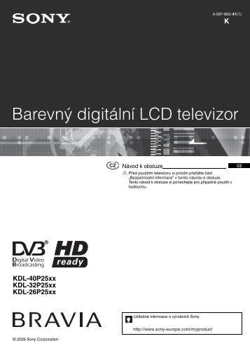 Sony KDL-32P2520 - KDL-32P2520 Mode d'emploi Tchèque