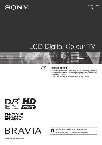 Sony KDL-32P2520 - KDL-32P2520 Mode d'emploi Polonais