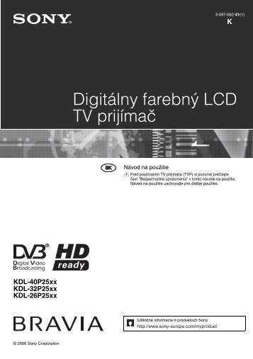 Sony KDL-32P2520 - KDL-32P2520 Mode d'emploi Slovaque