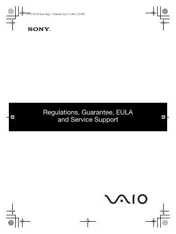 Sony VGN-TT11VN - VGN-TT11VN Documents de garantie Anglais