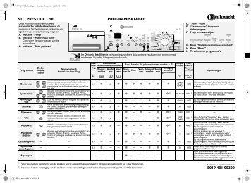 KitchenAid Prestige 1200 - Prestige 1200 NL (855491212700) Scheda programmi