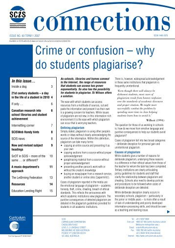 Crime or confusion – why do students plagiarise? - SCIS