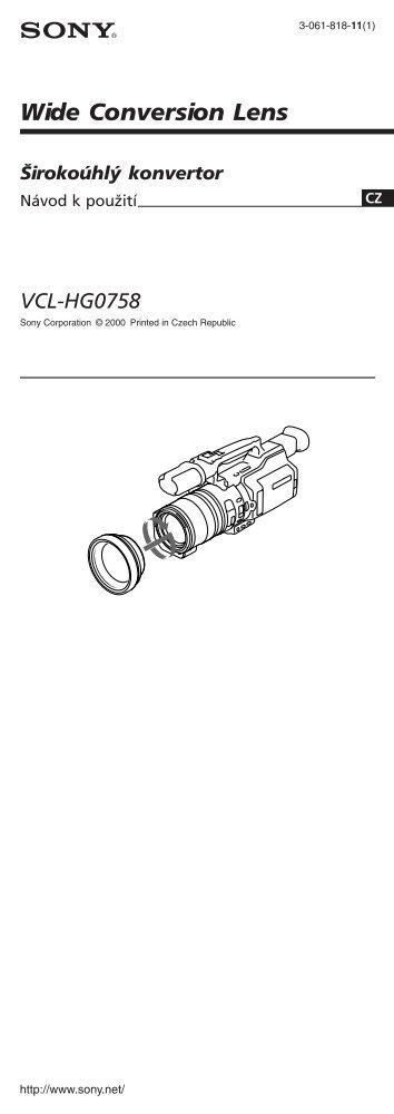 Sony VCL-HG0758 - VCL-HG0758 Consignes d'utilisation Tchèque