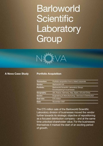 Barloworld Scientific Laboratory Group - Nova-cap.com