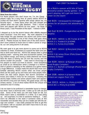 Baby News… - Northern Virginia Women's Rugby - NoVA Piranhas ...