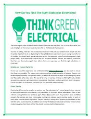 Contact Think Green Electrical when you need a licensed Etobicoke Electrician.