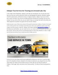 Udaipur Taxi Services for Touring in & Around Lake City