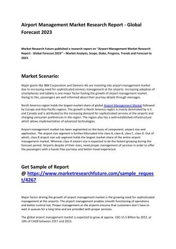 Airport Management Market Growth, Future Prospects and Competitive Analysis 2017