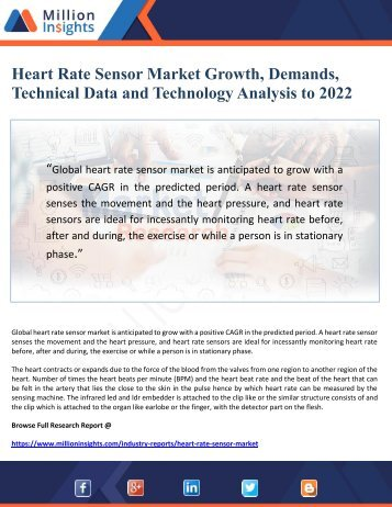 Heart Rate Sensor Market Growth, Demands,  Technical Data and Technology Analysis to 2022