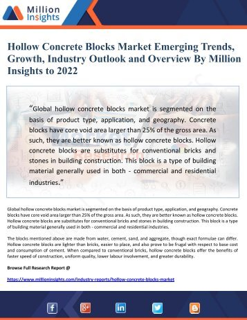 Hollow Concrete Blocks Market Emerging Trends, Growth, Industry Outlook and Overview By Million Insights to 2022