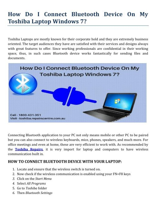 How Do I Connect Bluetooth Device On My Toshiba Laptop Windows?