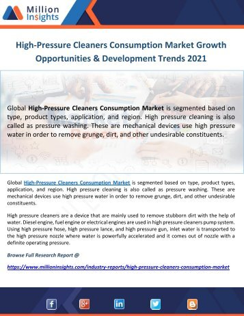 High-Pressure Cleaners Consumption Market Growth Opportunities & Development Trends 2021