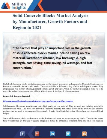 Solid Concrete Blocks Market Analysis by Manufacturer, Growth Factors and Region to 2021