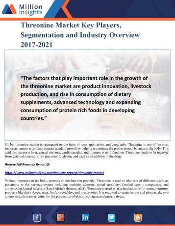 Threonine Market Key Players, Segmentation and Industry Overview 2017-2021