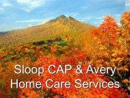 Sloop CAP and Avery Home Care Services - NC Nova