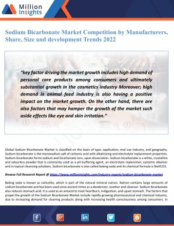 Sodium Bicarbonate Market Competition by Manufacturers, Share, Size and development Trends 2022