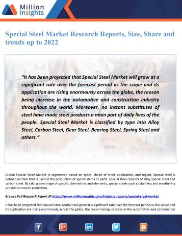 Special Steel Market Research Reports, Size, Share and trends up to 2022