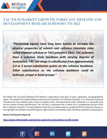TAC FILM MARKET GROWTH, FORECAST, DEMAND AND DEVELOPMENT RESEARCH REPORT TO 2022