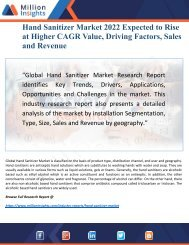 Hand Sanitizer Market Applications, Specifications and Trends