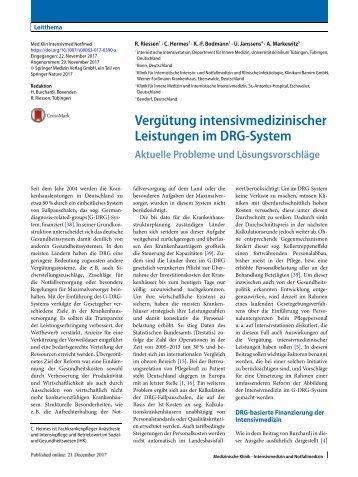 Vergütung intensimedizinischer Leistungen im DRG-System
