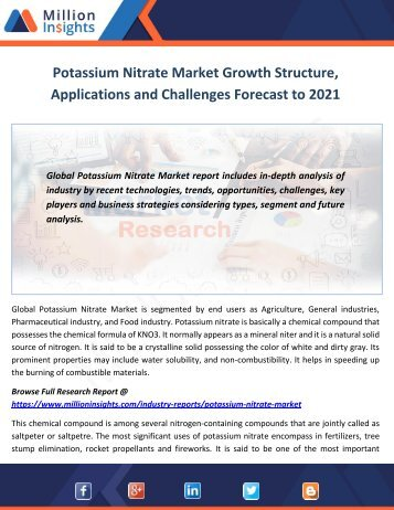 Potassium Nitrate Market Development Trends Forecast to 2021
