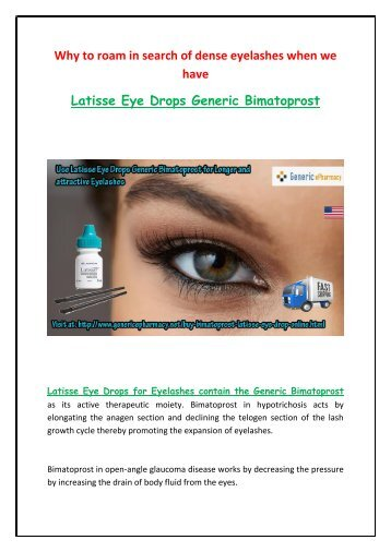 Buy Latisse Online Generic Eye Drops at GenericEPharmacy in USA UK