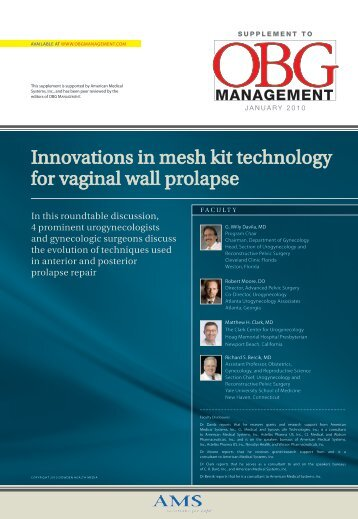 Innovations in mesh kit technology for vaginal wall prolapse - OBG ...