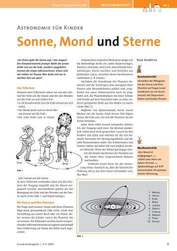 Astronomie für Kinder : Sonne, Mond und Sterne.