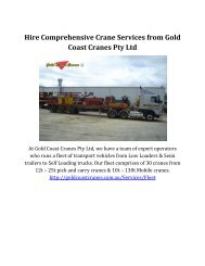 Hire Comprehensive Crane Service from Gold Coast Cranes Pty Ltd