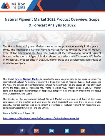 Natural Pigment Market 2022 Product Overview, Scope & Forecast Analysis to 2022