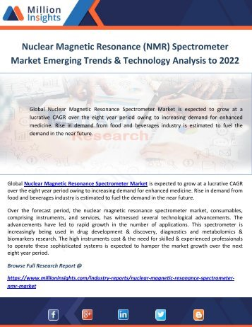 Nuclear Magnetic Resonance (NMR) Spectrometer Market Emerging Trends & Technology Analysis to 2022