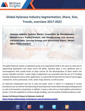 Global Xylanase Industry Segmentation, Share, Size, Trends, overview 2017-2022